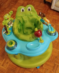 baby's green and blue frog themed activity saucer Oshawa, L1J 6J2