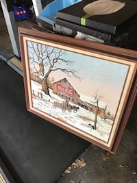 Brown wooden framed painting of house Camp Hill, 17011