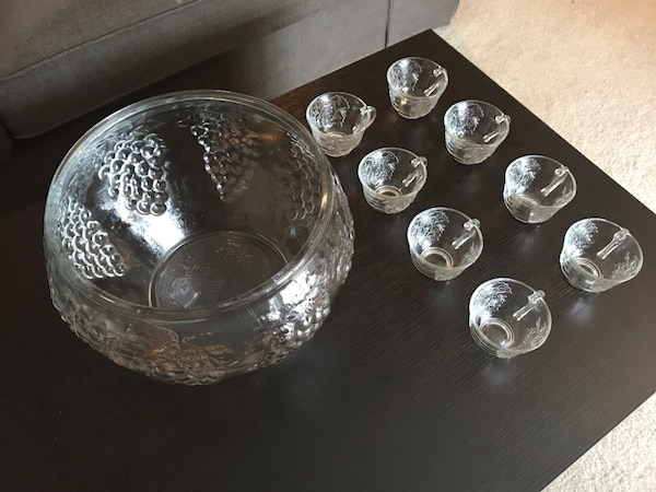 Grapes & Leaves Glass Punch Bowls & Tea Cups