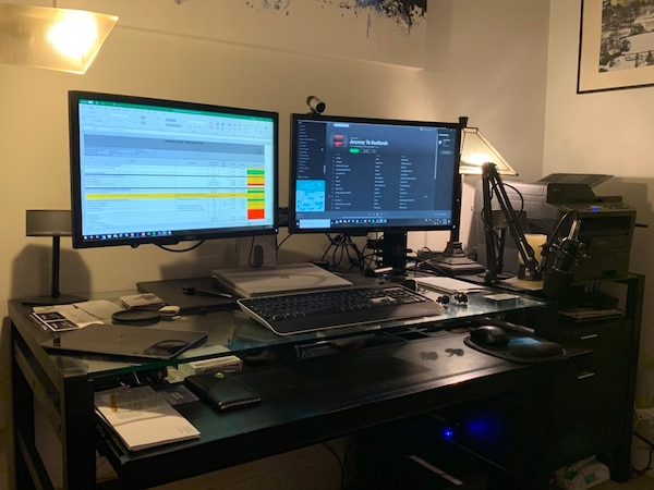 """Dell Dual Monitor Stand and two Dell 23"""" monitors"""