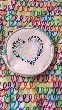 Round pink and blue floral Purse