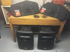 "JBL 15"" powered speakers with cases"
