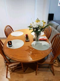 round brown wooden table with four chairs dining set LaSalle, N9A