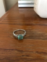 silver-colored and green gemstone ring Temple, 30179