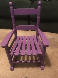 purple and white wooden rocking chair
