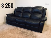 black leather 3-seat recliner sofa