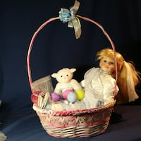 """Vintage Easter basket with 20"""" genuine porcelain doll with matching stuffed lamb Parkville"""