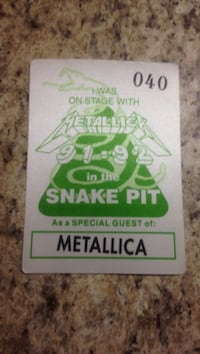 Early 90's Metallica backstage pass Niagara Falls, L2E 6N1