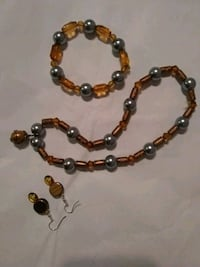 brown and gray beaded necklace, earrings, and bracelet se
