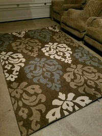 brown and white floral area rug Marshall, 20115