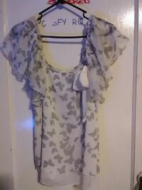 women's white and grey butterfly print scoop-neck blouse