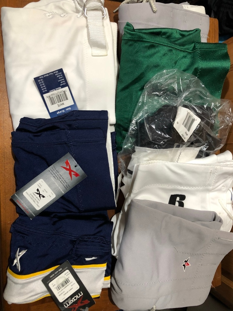 Photo Eight Pair NEW Football Pants Most with Tags