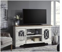 Realyn Chipped White XL TV Stand Woodbine, 21797