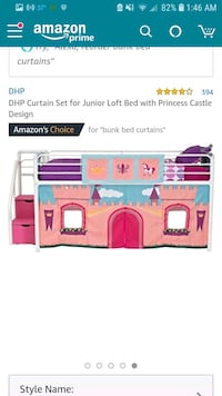 Bunk bed worth princess curtains  Walker