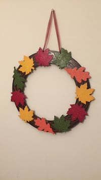 Black,red, yellow and green maple leaves wooden wreath Piscataway, 08854