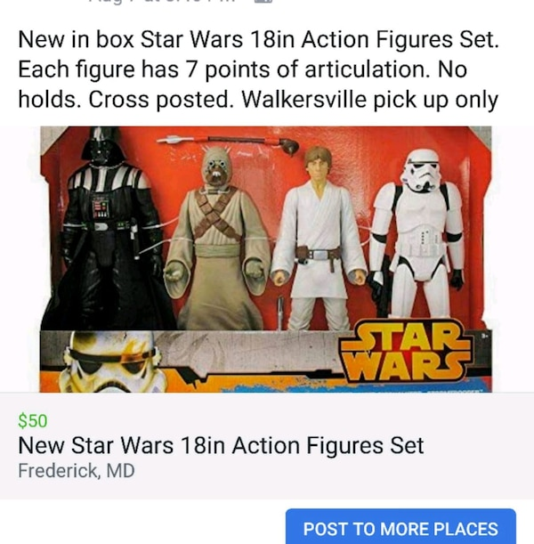 New in Box Star Wars 18in Action Figures Set