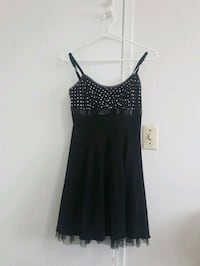 black and white polka dot spaghetti strap dress