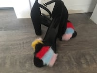 Black-and-red fur boots