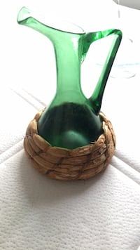 Green and brown ceramic vase