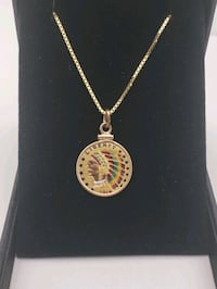 """14K Yellow Gold 20"""" Necklace w/ Gold Indian Coin Upland, 91786"""