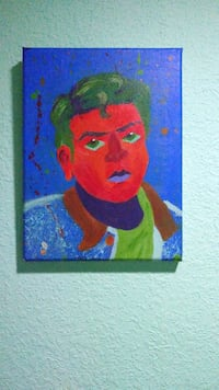 Bright abstract self portrait painting