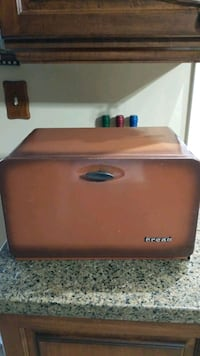 Vintage metal bread box old school.  Vaughan