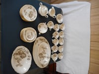 Castleton China 10 Place Settings +Silver Plated Flatware, Carving Set,Demitasse, Wedding Formal USA Acton