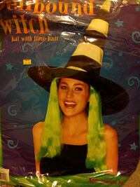 Black and green witches hat with green hair Elmer, 08318