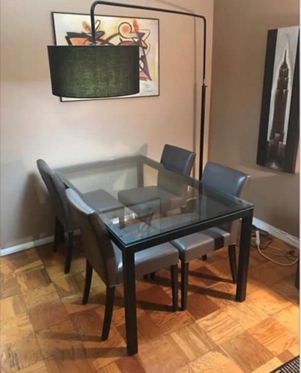 West Elm Parsons table for the kitchen and 4 leather West Elm chairs