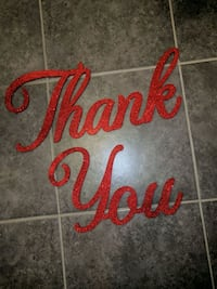 Red glittery thank you sign Milton, L0P