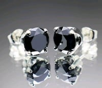 2.20ct Natural Black Diamond Stud Earring Silver Spring, 20906
