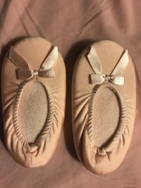 Pair of pink leather and fabric bale shoes  North Vancouver, V7K 2B1