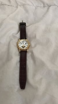 round silver chronograph watch with black leather strap Baltimore, 21217