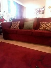red fabric sofa with throw pillows Burtonsville, 20866