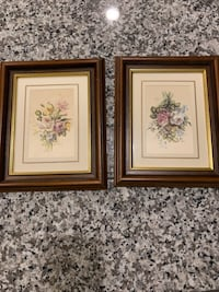 Two brown wooden framed painting of flowers Hampton, 23666