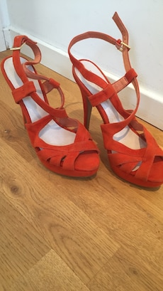orange peep toe ankel strap pumps