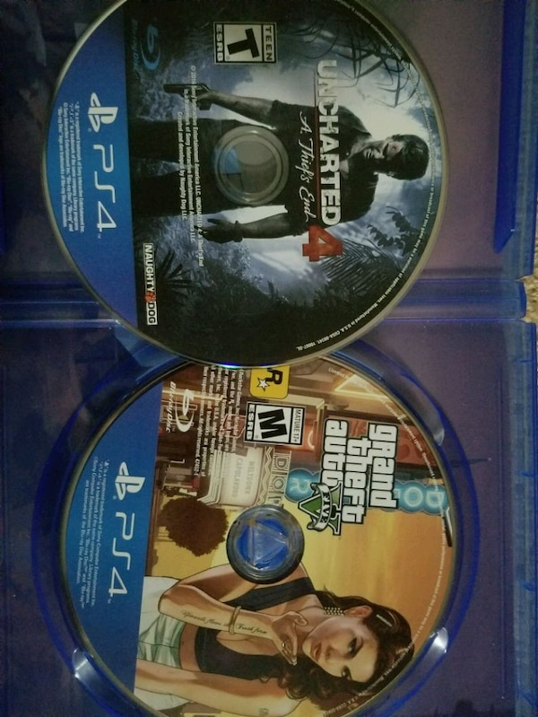 two Sony PS4 games( GTA 5 and uncharted 4)