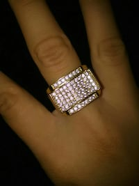 $120 MENS SIMULATED DIAMOND GOLD GP PINKY RING CUS
