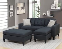 black fabric sectional sofa with throw pillows Miami, 33177