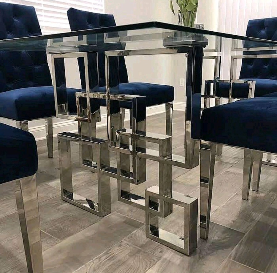Photo Rich Chrome Stainless Steel & .5 Glass Top Dining Table