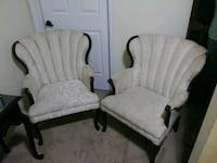 two white wooden framed gray padded armchairs Memphis, 38016