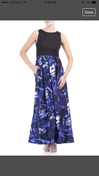 women's blue and black floral sleeveless dress Calgary, T2A