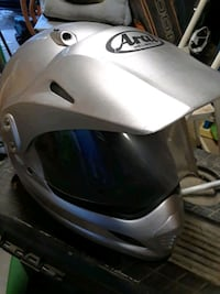 white and black full-face helmet 2319 mi