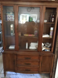 brown wooden framed glass display cabinet Kirkersville, 43062