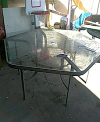 rectangular glass top table with black metal base Los Angeles, 91605
