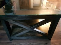 Heavy wooden coffee table 2 end tables with glass
