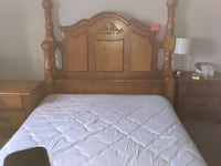 Brown wooden bed headboard and footboard with side rails Dallas, 75237