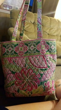 green, pink, and white floral vera Bradle tote bag Marion, 62959