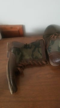 pair of brown-and-green camouflage boots