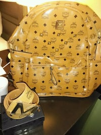 Brown MCM backpack and belt Houston